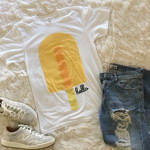 "hello • yellow popsicle summer ""hello"" tee"